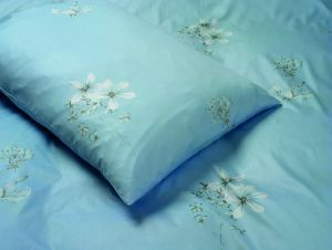 Bettwäsche Baumwoll-Satin bedruckt MARGARITEN blau