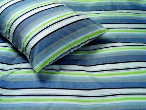 Bettwäsche Baumwolle garngefärbt RAYAS grün-blau