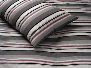 Bettwäsche Baumwolle garngefärbt RAYAS pink-grau